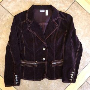Chicos Velvet Blazer Jacket Purple 2 button